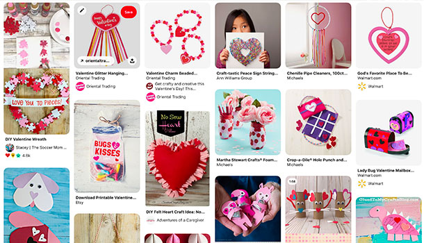 A pinterest board showing a variety of kids crafts.