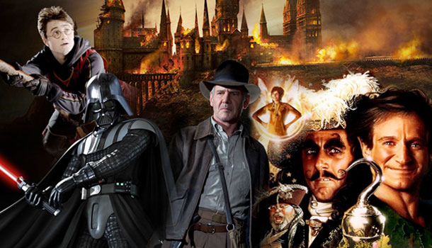A collage of Harry Potter, Indiana Jones, Hook, and Star Wars.